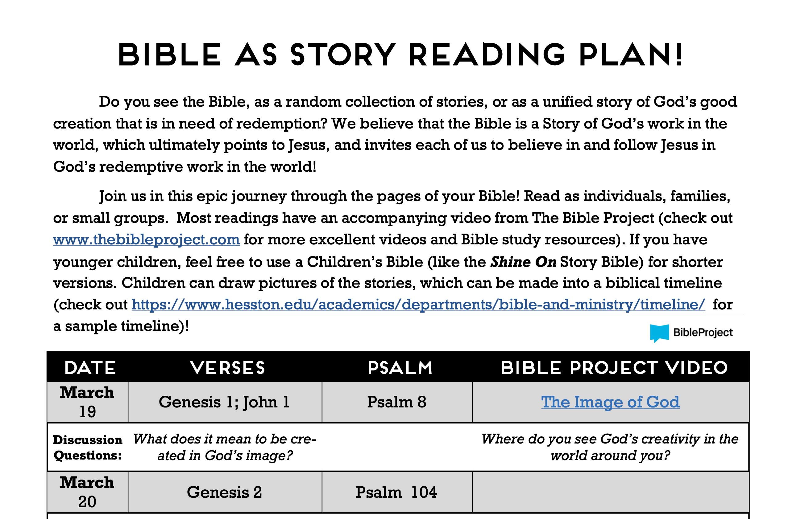 Bible as Story Reading Plan